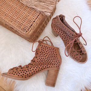 Jeffrey Campbell Cors Star Cut Out Lace Up Booties